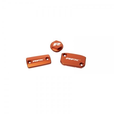Zestaw dekli nakładek, zestaw pokryw, korek RFX Pro Res pomarańczowy  KTM SX/ SXF 14-20 hamulec Brembo i sprzęgło Magura